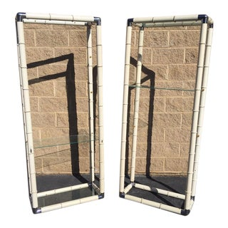 1970's Vintage Metal Faux Bamboo Etagere Chrome Corners - a Pair For Sale
