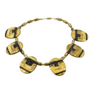 Artist Eileen Aubi 1961 Gilt Resin Sculpture Choker Necklace For Sale