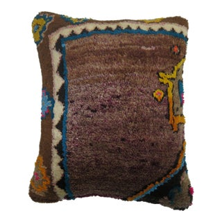 Boho Chic Turkish Rug Pillow with Cotton Highlights