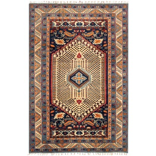 Contemporary Handmade Turkish Wool Rug - 6′ × 9′ For Sale