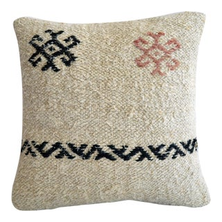 "16"" Vintage Handmade Kilim Rug Hemp Pillow Cover Throw With Insert For Sale"