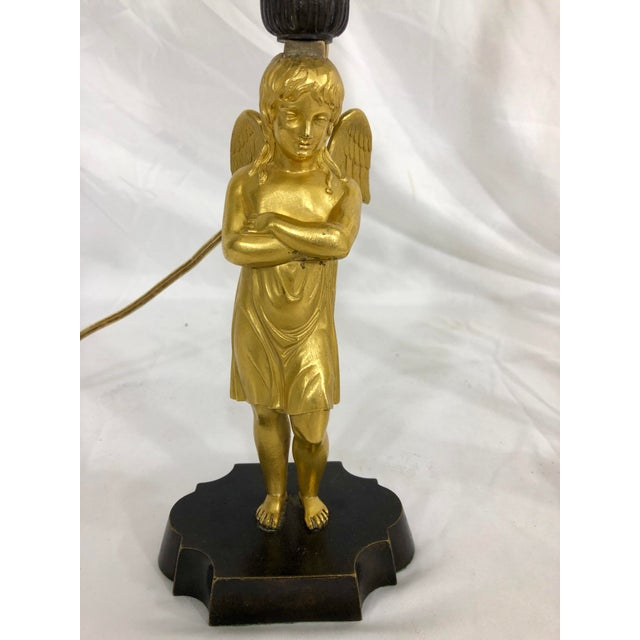 French Bronze French Empire Angel Table Lamps a Pair For Sale - Image 3 of 8