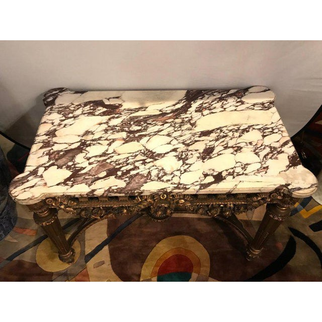 French Louis XVI Style 19th Century Giltwood Marble-Top Centre Table For Sale In New York - Image 6 of 13