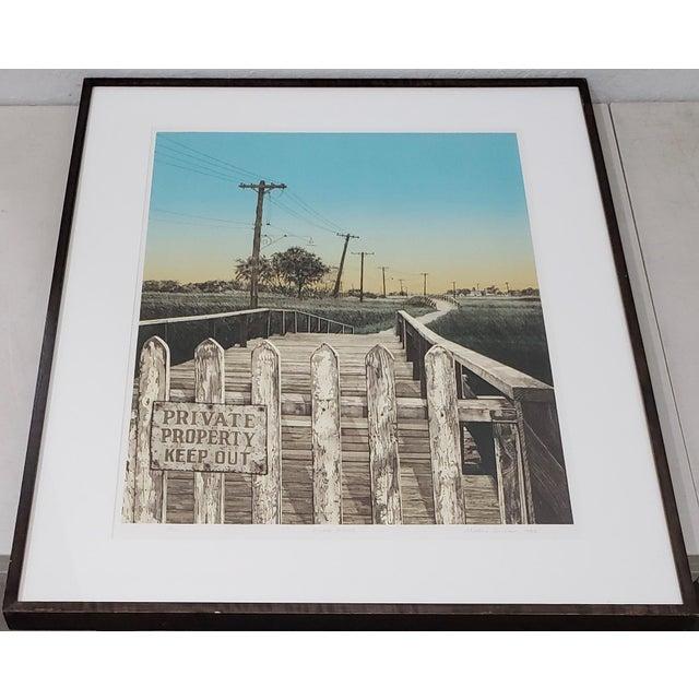 "Martin Levine (American, 20th c.) ""Private Property"" Limited Edition Color Lithograph c.1982 A fantastic vintage color..."