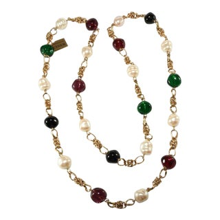 Ciner 43 Inch Red Green and Faux Pearl Necklace After Chanel For Sale