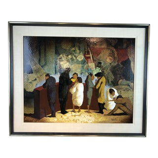 "1970s Framed ""Escartus"" Oil on Canvas Painting For Sale"