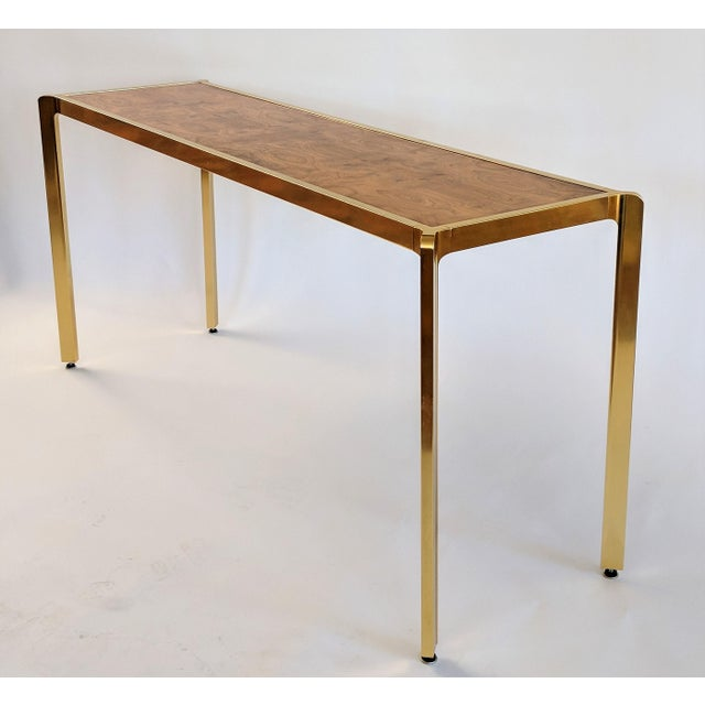 Brass & Burlwood Console Table For Sale - Image 13 of 13