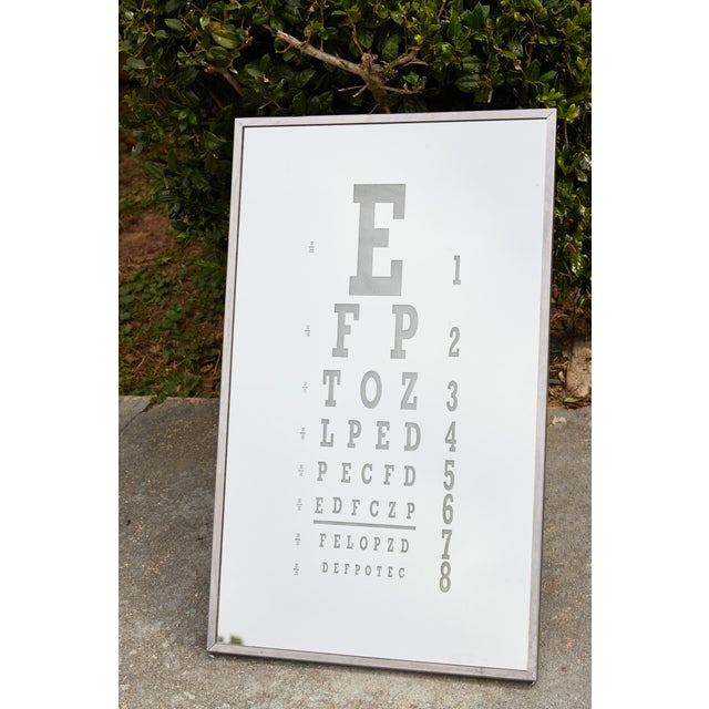 Midcentury Eye Chart Mirror For Sale - Image 9 of 13