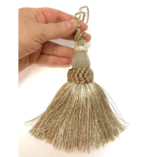 French Country Key Tassel in Khaki and Bronze With Ruche Trim For Sale - Image 3 of 10