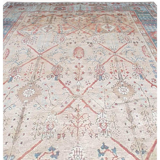Ivory Antique Turkish Ghiordes Rug For Sale - Image 8 of 9