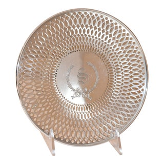 Pierced Sterling Footed Plate For Sale