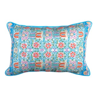 Festive Embroidered Accent Pillow For Sale