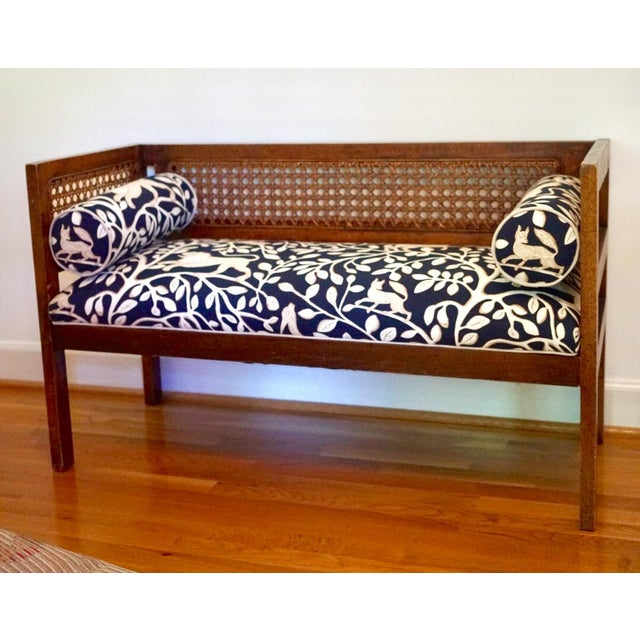 Shabby Chic Mid-Century Robert Allen Upholstered Cane Settee For Sale - Image 3 of 13