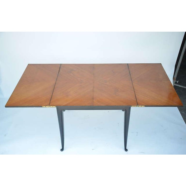 Wood Chic Ebonized French 1940s Folding Center or Dining Table For Sale - Image 7 of 10