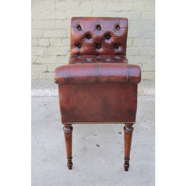 English Leather Tufted Bench - Image 5 of 5