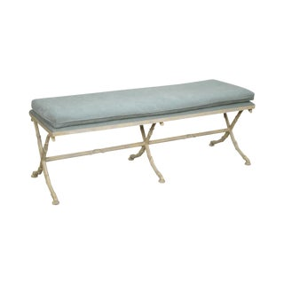 Hollywood Regency Style Faux Bamboo Painted X Base Window Bench For Sale