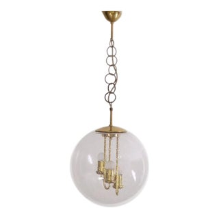 Huge Round Brass Sputnik Chandelier or Pendant Lamp by Doria For Sale