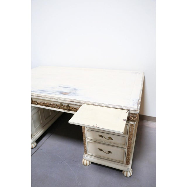 chateau french writing large white desk antique