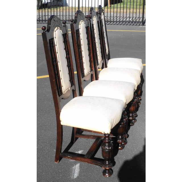 Early 20th Century Antique Gothic Revival Chairs- Set of 4 For Sale - Image 4 of 10