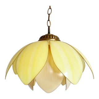 1960s Double Lotus Pendant Light For Sale