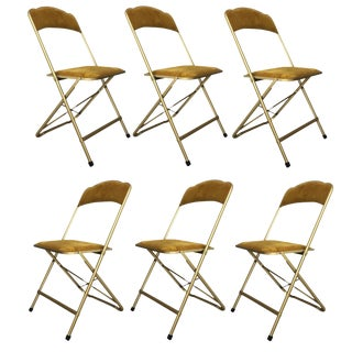 20th Set of Six Brass & Velvet Plia Style Folding Chairs For Sale
