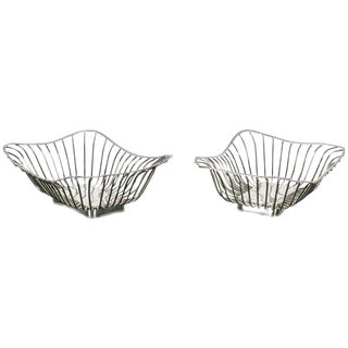 Pair of Italian Silver Plate Wire Baskets For Sale