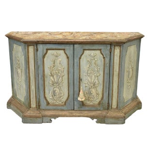 18th C Painted Credenza Sideboard With Faux Marble Top For Sale