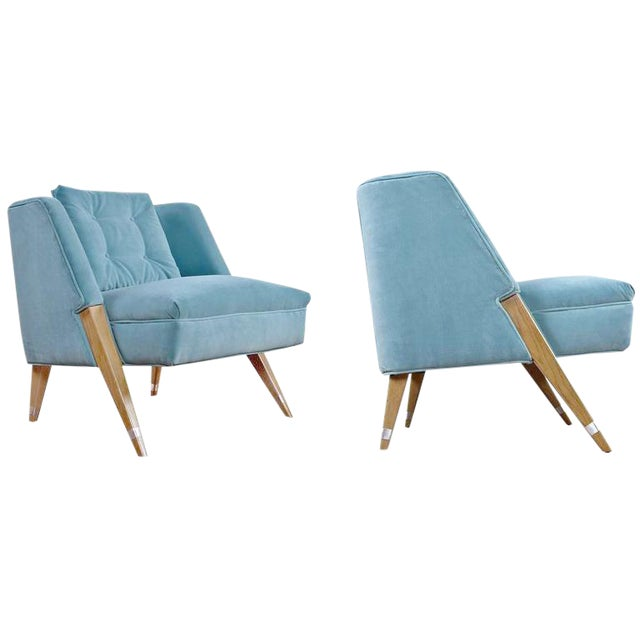 Mid-Century Modern Blue Slipper Chairs - A Pair - Image 1 of 4