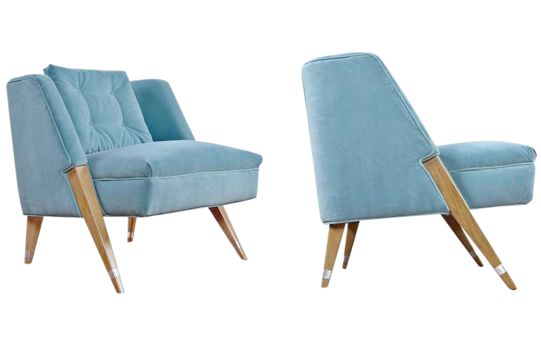 Mid Century Modern Blue Slipper Chairs   A Pair   Image 1 Of 4