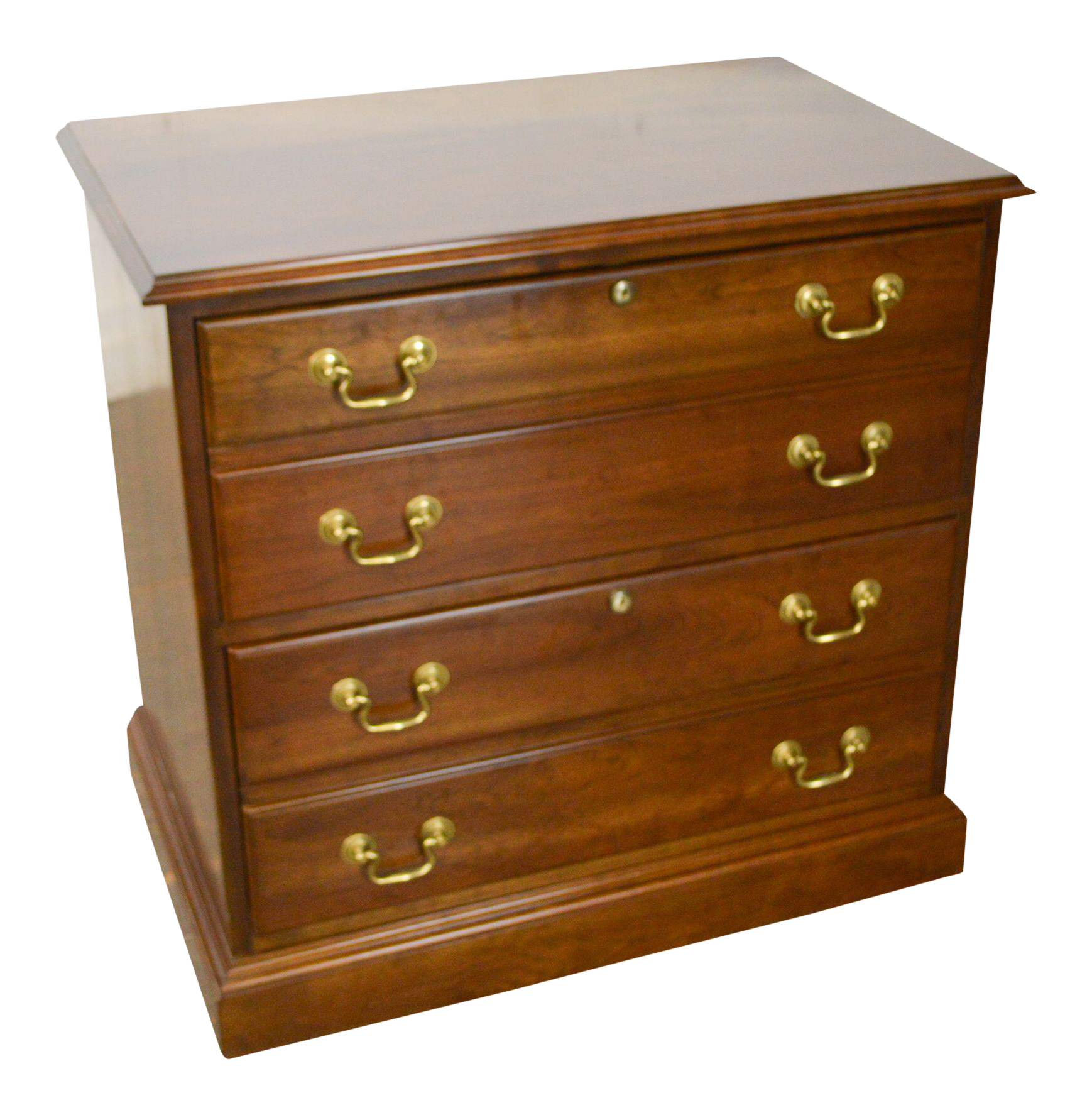 Stickley Chippendale Style Solid Cherry 2 Drawer File Cabinet