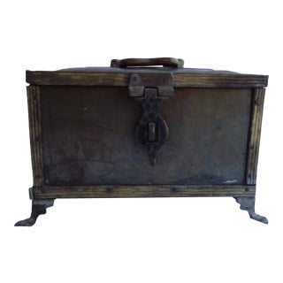 Antique Footed Brass Box For Sale