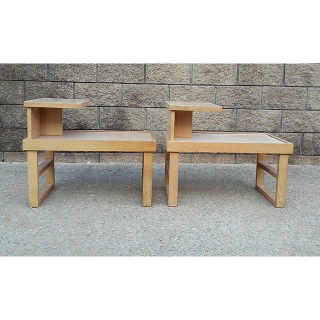 Wood Paul Laszlo Style Blonde End Tables-A Pair For Sale - Image 7 of 12