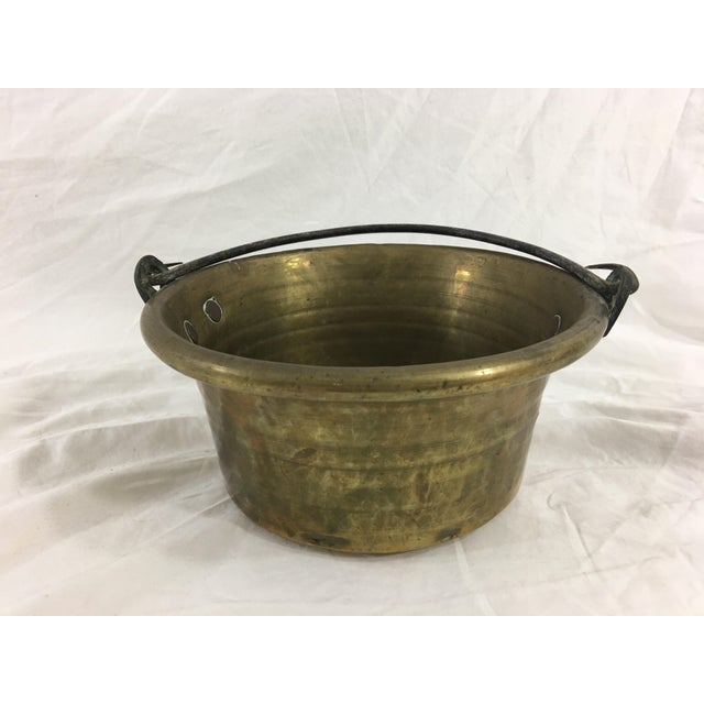 Brass Antique French Small Brass Cauldron With Wrought Iron Handle For Sale - Image 8 of 8
