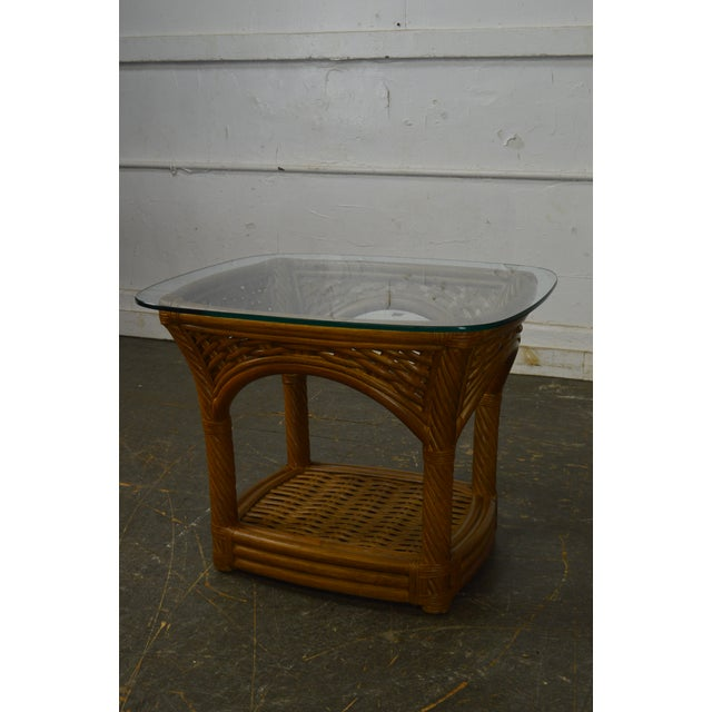 Crate & Barrel Glass Top Rattan Side Table For Sale In Philadelphia - Image 6 of 13