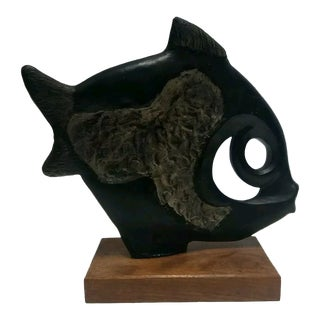 1970s Vintage Klara Sever Modernist Ceramic Fish Sculpture For Sale