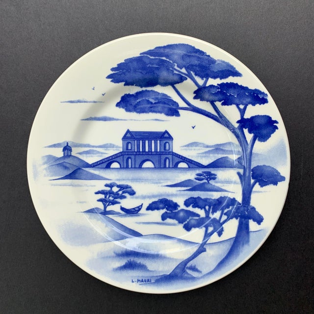 Hand-Painted Italian Ceramic Blue and White Plates - Set of 3 For Sale - Image 4 of 12
