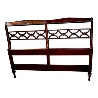 Vintage Regency Carved Mahogany Full Size Headboard For Sale