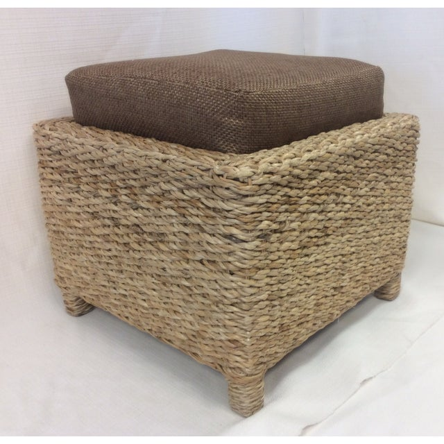 Handmade Woven Stool Mimbre Brown - Image 6 of 9