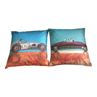 Doggy Race Car Pillows With Down Fill - A Pair