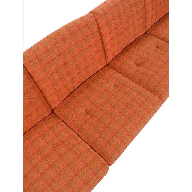 Vintage Original Scandinavian Bent Teak Plaid Wool Upholstered Sofa Couch, 1970s For Sale - Image 5 of 7