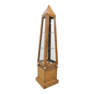 Leather Obelisk Curio Cabinet