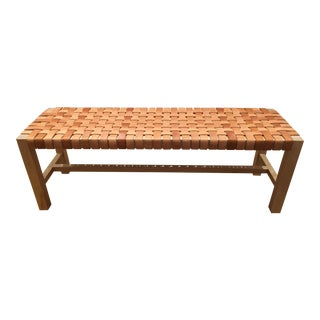 Birch Frame Woven Leather Strap Bench For Sale