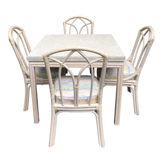 Vintage Ficks Reed White Table and Chairs Set For Sale