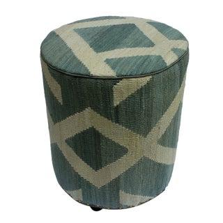 Arshs Davis Gray/Ivory Kilim Upholstered Handmade Ottoman For Sale