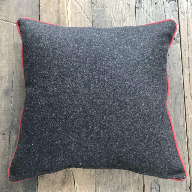 This British Gray Wool Flannel Pillow With Red Contrast Piping has an excellent quality down blend insert! We import all...