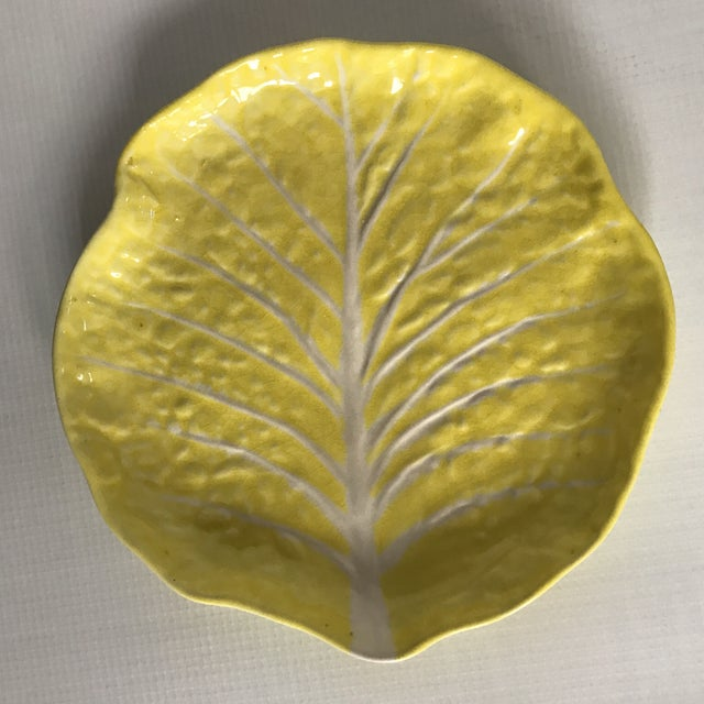 Vintage Yellow Cabbage Leaf Plate For Sale - Image 11 of 11