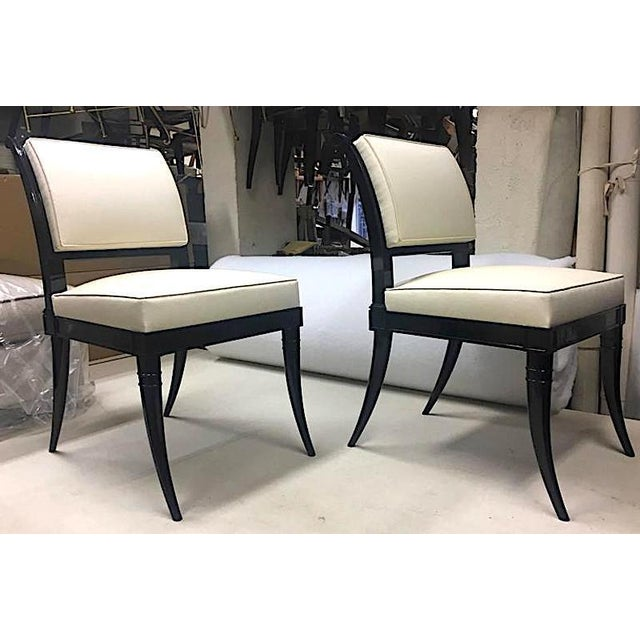 Wood Maison Jansen Chicest Black Neoclassic Exceptional Set of Eight Dinning Chairs For Sale - Image 7 of 8