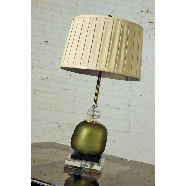 This is an awesome buffet lamp or table lamp by John Richard. The use of the gilt, green art glass, black accent and...