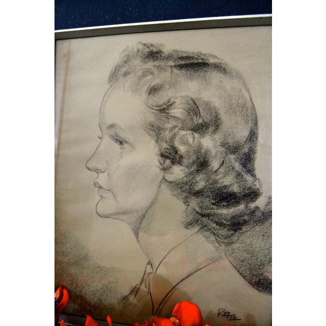 1956 Vintage English Hand Sketch of a Woman - Image 5 of 6