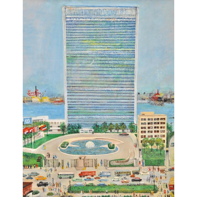 """Blue Large Scale New York City """"United Nations"""" Folk Art Painting by Helen Mauldin C.1958 For Sale - Image 8 of 13"""